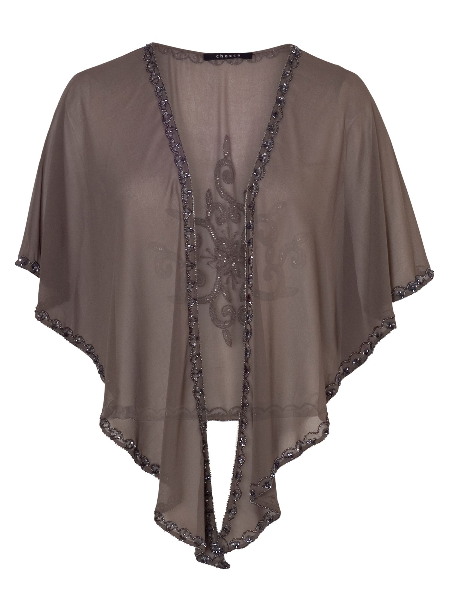 Mink Gunmetal Beaded Shawl