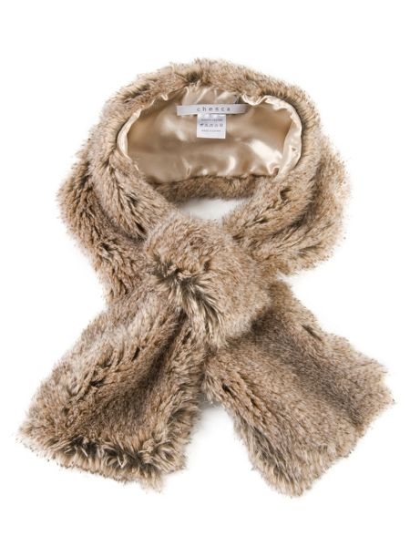 Chesca Chinchilla Faux Fur Slip-thru Scarf