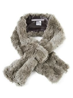 Grey Faux Fur Slip-thru Scarf