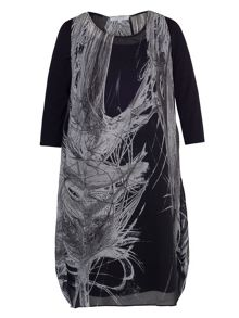Chesca Black Printed Dress with 3/4 Sleeves