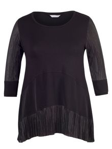 Chesca Black Pleat Trim Jersey Tunic