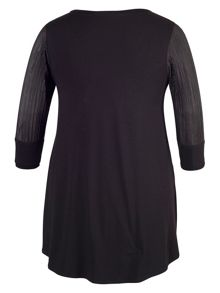 Black Pleat Trim Jersey Tunic