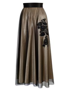 Gold/Black Skirt with Embroidered Motif