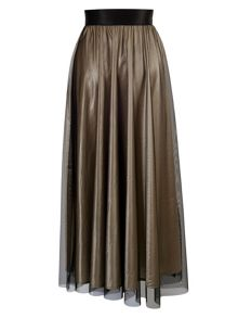 Chesca Gold/Black Skirt with Embroidered Motif