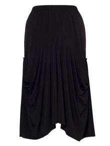 Plus Size Black Drape Jersey Skirt