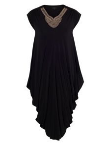 Black Stud Drape Jersey Dress