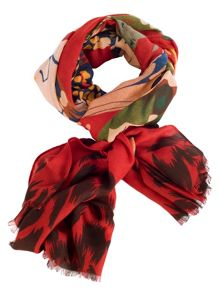 Chesca Red Butterfly Print Scarf