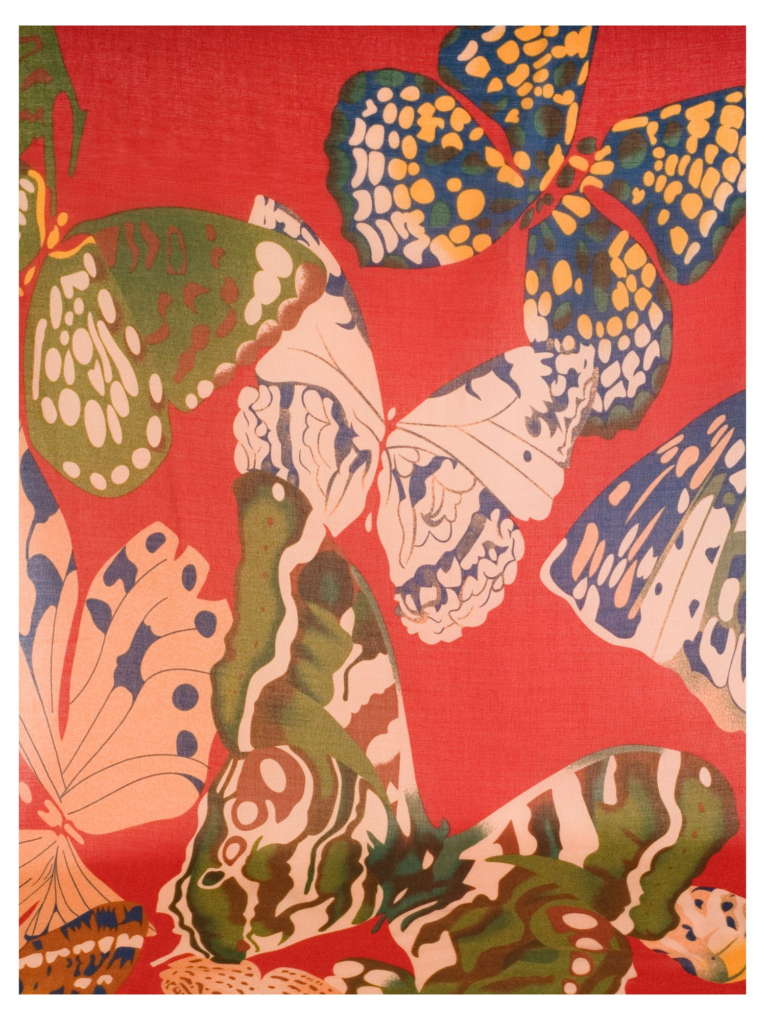 Red Butterfly Print Scarf