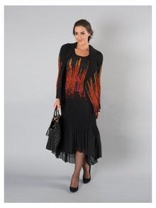 Chesca Plus Size Black/Orange Reversible Crush Plt Shrug