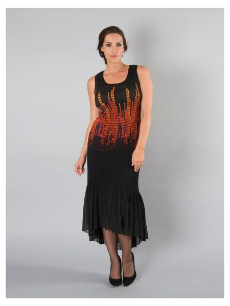 Chesca Black/Orange Reversible Crush Pleat Cami