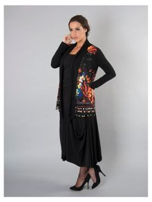 Plus Size Black Floral Print Border Jersey Shrug