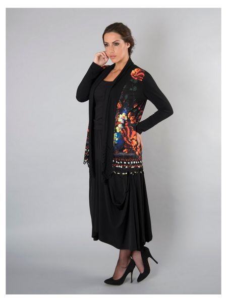 Chesca Plus Size Black Floral Print Border Jersey Shrug
