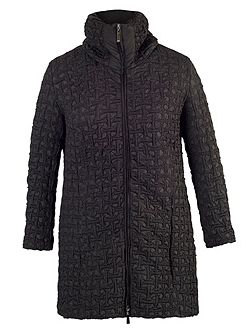 Black mini bonfire quilted coat