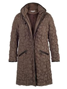 Mink crescent quilted contrast trim coat