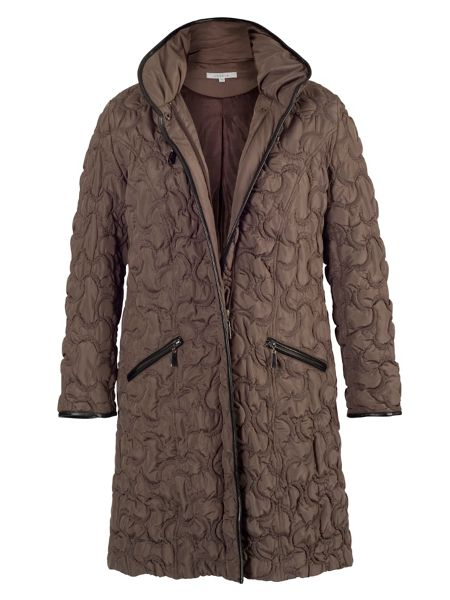 Chesca Mink crescent quilted contrast trim coat