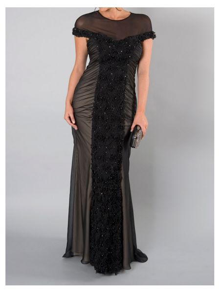 Chesca Black Floral/Beaded Mesh Long Dress