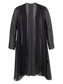 Black Bead Trim Chiffon Coat