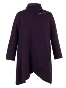 Aubergine Cable Collar Coat