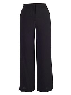 Black Pleat Trim Trousers