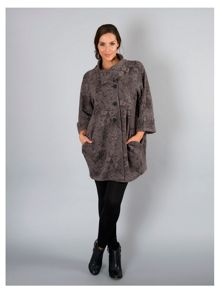Chesca Mink Jersey Floral Jacquard Coat