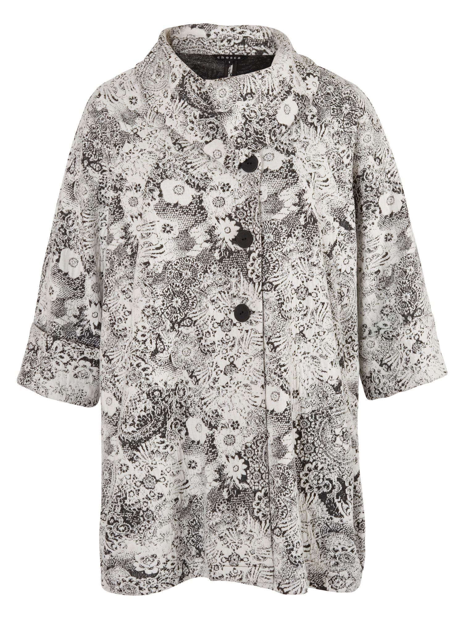 Chesca Ivory Jersey Floral Jacquard Coat, White