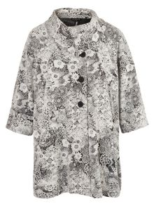 Chesca Ivory Jersey Floral Jacquard Coat