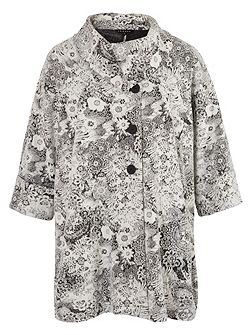 Ivory Jersey Floral Jacquard Coat
