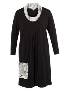 Chesca Plus Size Black Jersey Dress with Floral Jacquard