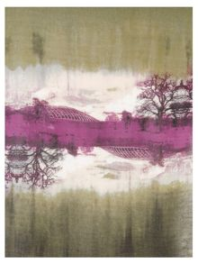 Chesca Khaki and Violet Scenic Printed Scarf