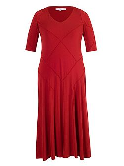 Red raised seam jersey dress