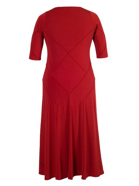 Chesca Red raised seam jersey dress