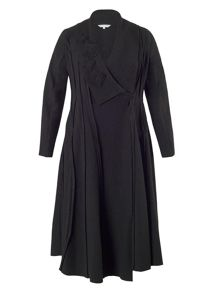 Chesca Applique Trim Seamed Boiled Wool Coat