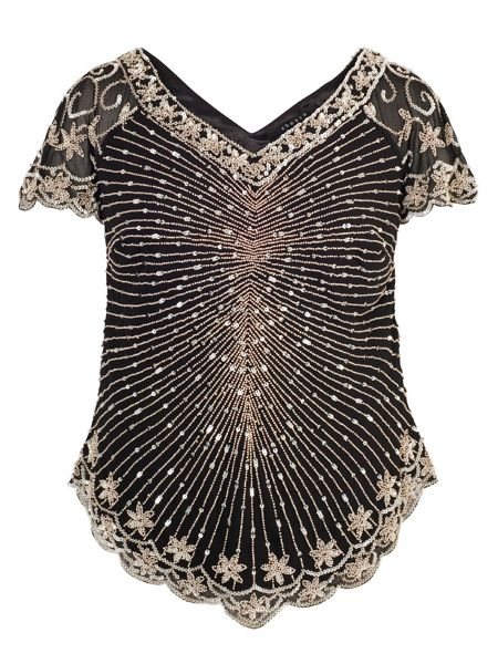 Chesca Black Chevron Gunmetal Beaded Top
