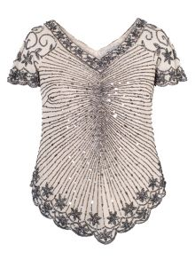 Champagne Chevron Gunmetal Beaded Top