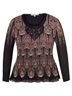 Plus Size Macrame Trim Crush Pleat Top