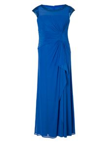 Chesca Capri Sequin Trim Long Mesh Dress