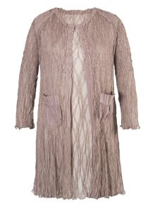 Chesca Pale Mink Matt Satin Lace Short Coat