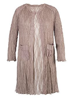 Pale Mink Matt Satin Lace Short Coat