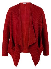 Plus Size Red Block Jacquard Pocket Drape Shrug