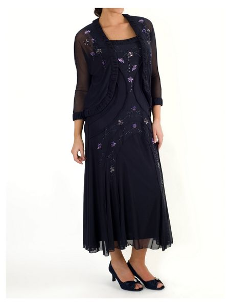 Chesca Beaded Mesh Dress with Ruched Trim