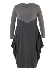 Chesca Plus Size Grey Marl Jersey Dress