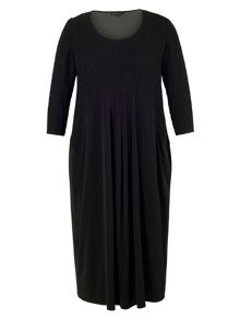 Chesca Plus Size Black Cloque Trim Jesrey Dress