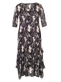 Plus Size Black/Heather Printed Crush Pleat Dress