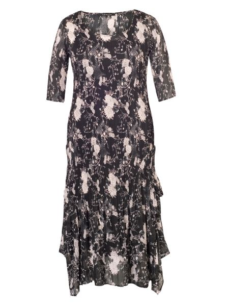 Chesca Plus Size Black/Heather Printed Crush Pleat Dress