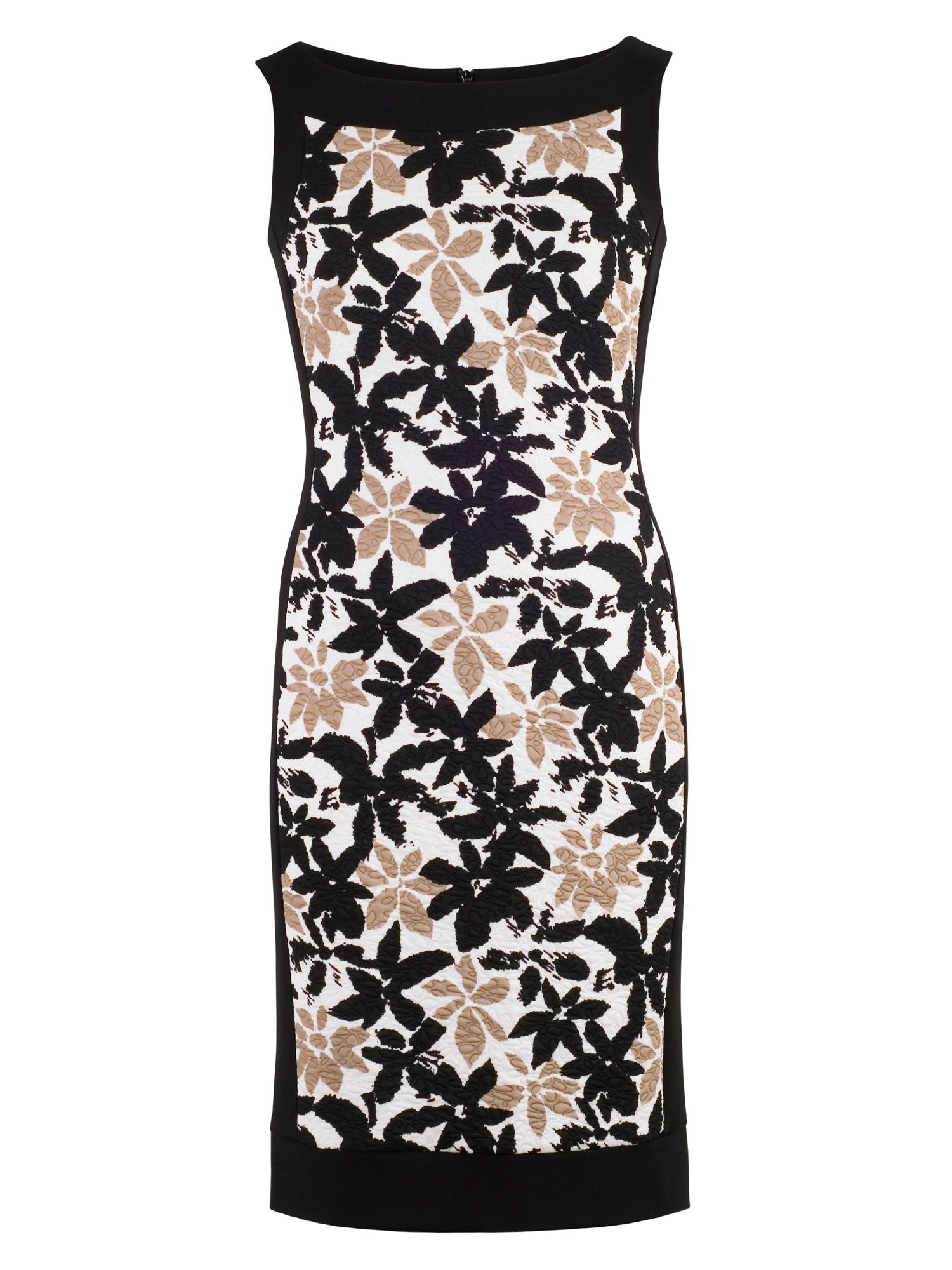 Chesca Floral Print Fancy Jersey Dress, Black