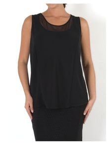 Chesca Crepe Camisole with Mesh Trim