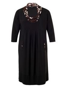 Chesca Black Dress with Printed Cowl Neck