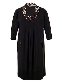 Black Dress with Printed Cowl Neck