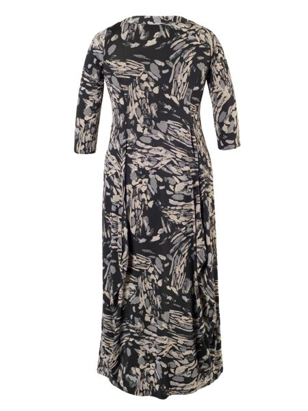 Chesca Plus Size Grey Steel Print Drape Jersey Dress