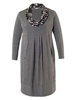 Plus Size Grey Dress with Steel Print Cowl